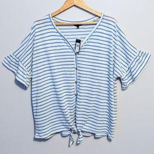 Striped Half-Sleeve Cardigan